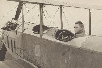 Nigel Love in his two-seater biplane.