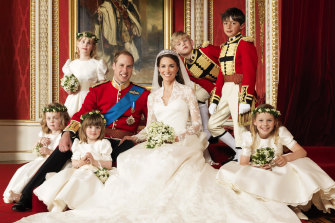 Lady Louise Windsor (top left), in an official photo from the Duke and Duchess of Cambridge's wedding in 2011.