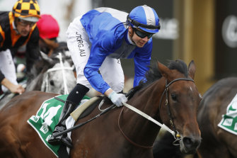Jye McNeil rides Oceanex to victory during Stakes Day.