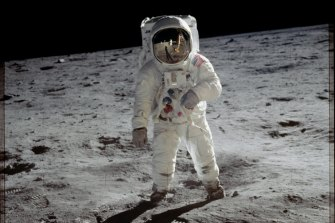 Been there: Apollo 11 astronaut Buzz Aldrin walks on the moon.