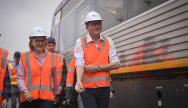 Transport Infrastructure Minister Jacinta Allan with Premier Daniel Andrews.