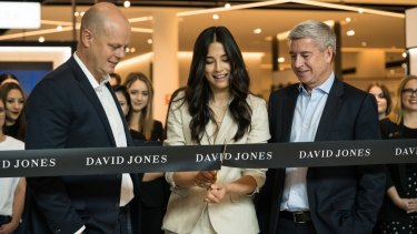 Model Jessica Gomes officially opened the new David Jones.