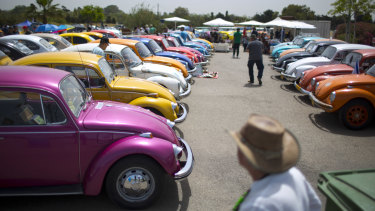 "Volkswagen Beetles are displayed during the annual gathering of the ""Beetle club"" in Yakum, central Israel in 2017."
