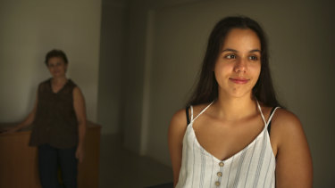 Jas, 17, with her mother Irena (in background). Jas was clinically obese at nine years old and was diagnosed with polycystic ovarian syndrome four years later.