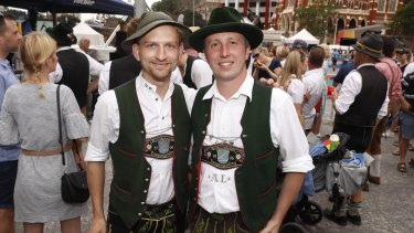 Johan Pfeiffer (left) and Ludwig Aigner (right) from the nine-man delegation who made the journey from Bavaria.