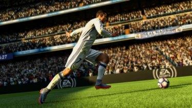 A screenshot of Cristiano Ronaldo from EA Sports' FIFA 2018 soccer game.
