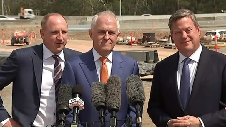 Opposition Leader Tim Nicholls with Prime Minister Malcolm Turnbull and federal MP Luke Howarth.