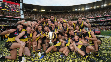 The Tigers pose during the 2019 AFL Grand Final between the Richmond Tigers and Greater Western Sydney Giants at the MCG, Melbourne, Saturday 28th September, 2019. Photo by Scott Barbour  Photo Scott Barbour THE AGE