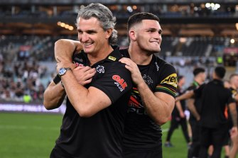 Nathan Cleary and his father Ivan after the Penrith Panthers v South Sydney Rabbitohs game last week.