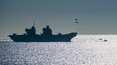 The 65,000-tonne HMS Queen Elizabeth arrives at the British territory of Gibraltar In 2018.