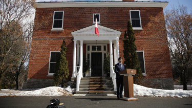 Canadian Prime Minister Justin Trudeau speaks to the media outside his residence at Rideau Cottage in Ottawa, Ontario.
