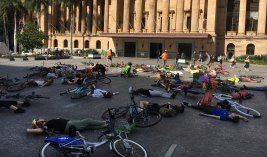 "Fifty cyclists laid down in King George Square on Friday as part of a so-called ""die-in"", organised by Extinction Rebellion."