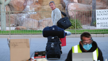 Melbourne Storm coach Craig Bellamy arrives at the Quality Resort Siesta in Albury on Tuesday.