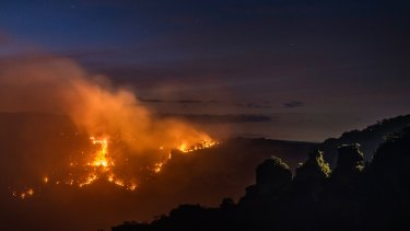 The Ruined Castle fire in the Blue Mountains joined the Green Wattle Creek fire earlier in the month.