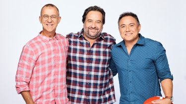 They're back: The Front Bar hosts Andy Maher, Mick Molloy and Sam Pang.