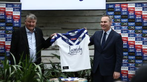 Arthur Laundy and Andrew Hill, CEO of the Canterbury-Bankstown Bulldogs, at the announcement of the Laundy Hotels sponsorship deal.