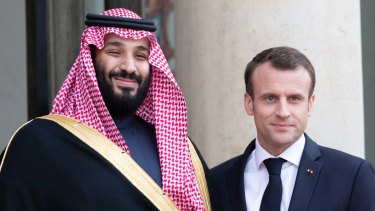 Saudi Arabia's crown prince Mohammed bin Salman and French President Emmanuel Macron.