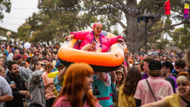 Crowd-surfing in style at the 29th Meredith Music Festival.