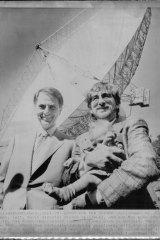 Carl Sagan (left) at the Oak Ridge Observatory communications dish in Harvard.