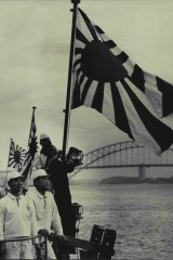 The rising sun flag of the Japanese Navy reappeared in Sydney Harbour for the first time in 27 years on Jully 12, 1962, when four Japanese Navy destroyers berthed at Garden Island for a goodwill visit.