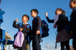 School's back! Students return to their classrooms at Resurrection Catholic Primary School in Kings Park.
