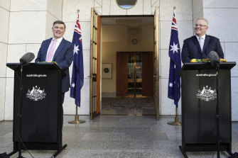 Professor Brendan Murphy and Prime Minister Scott Morrison on Friday.