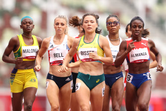 Australia's Catriona Bisset (centre) was disappointed with her performance in the 800m.