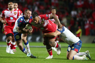 Tongan terror Addin Fonua-Blake carts the ball up against the Great Britain Lions last week.