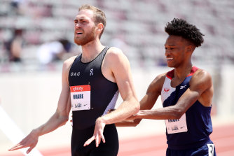 Australian Ollie Hoare, left, reacts after the men's 1500 at the USATF Golden Games and World Athletics Continental Tour in California earlier this month.