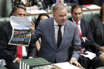 "Opposition Leader Anthony Albanese accuses Scott Morrison of being ""the master chef of cooking the books""."