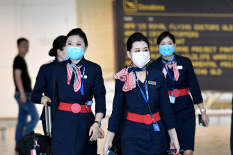 China Eastern Airlines cabin crew at Brisbane International Airport.