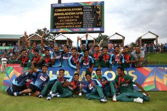 Bangladesh celebrate their under-19 World Cup win.