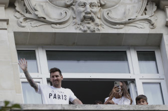 Fans also congregated underneath the balcony of the hotel room shared by Messi and his family.