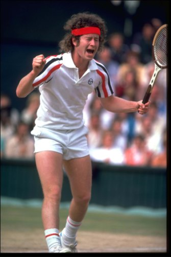 John McEnroe is unhappy with an umpire's decision during Wimbledon in 1980.