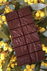 Golden wattle (Acacia pycnantha) depicted on Jasper+Myrtle chocolate.