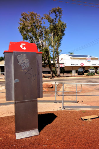 The payphone outside Rusty's IGA in Derby, where Zaria Buck received the last call from her mother, Julie.