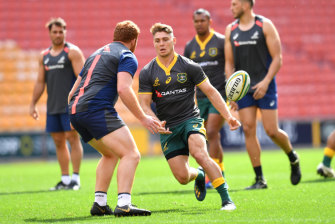 James O'Connor in action during the Wallabies captains' run.