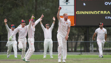 Tuggeranong bowler, Adam Blacka celebrates a wicket with team mates. Ginninderra's Jordie Misic gets caught out.