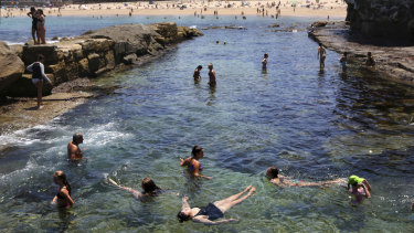 Beating the heat: Beachgoers cool off at Coogee on Tuesday.