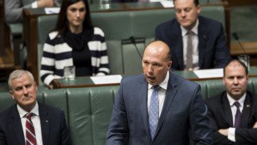 Home Affairs Minister Peter Dutton during question time on Tuesday.