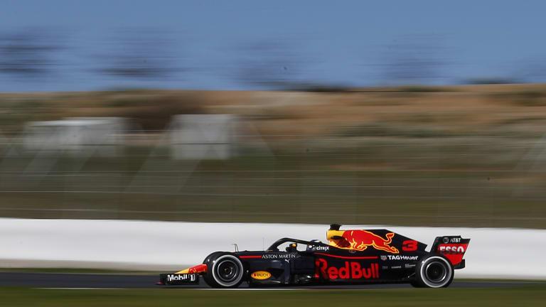 Daniel Ricciardo takes his Red Bull for a spin in Barcelona testing.