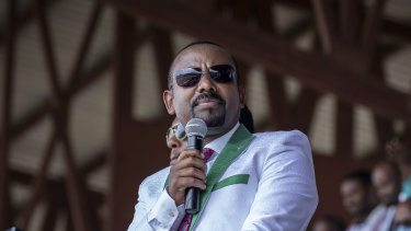 Ethiopian Prime Minister Abiy Ahmed speaks at a final campaign rally in the town of Jimma, Oromia, on Monday
