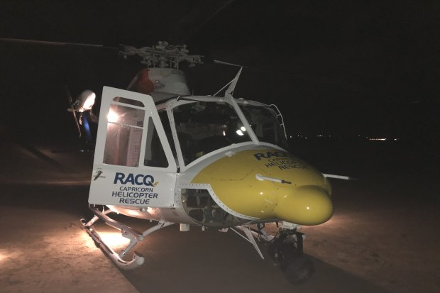 The Rescue 300 helicopter stayed overhead lighting the area for the ground units, then landed nearby on the beach and assisted with removal of the body to an awaiting ambulance near Yeppoon.