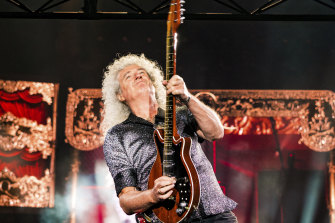Queen's Brian May in action at AAMI Park.