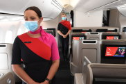 SYDNSYDNEY, AUSTRALIA - OCTOBER 28: Qantas cabin crew members on board a Boeing 787 Dreamliner aircraft during a media visit on October 28, 2021 in Sydney, Australia. Australia's international borders will reopen from Monday November 1, with fully vaccinated international arrivals able to travel into New South Wales and Victoria without needing to quarantine. Australian citizens will also be able to freely travel overseas from 1 November without requiring an exemption from the federal government and Border Force. (Photo by James D. Morgan/Getty Images) Getty image for Traveller. Single use only.