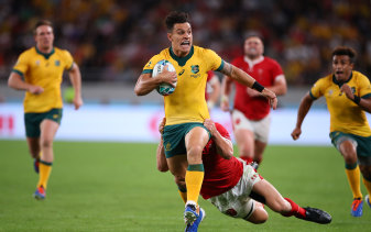 Matt To'omua in action for the Wallabies against England at the 2019 Rugby World Cup.