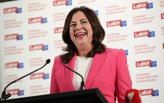 Annastacia Palaszczuk celebrates winning a third term as Queensland Premier on Saturday night.