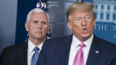 "Donald Trump with Vice-President Mike Pence whom he appointed to lead the US government's coronavirus response. ""You don't want to see panic because there's no reason to be panicked."""