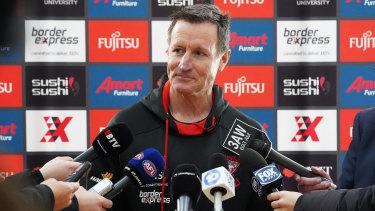 Essendon coach John Worsfold speaks to the media ahead of training on Wednesday.