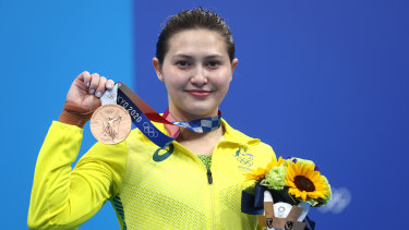 Wu with her bronze medal.